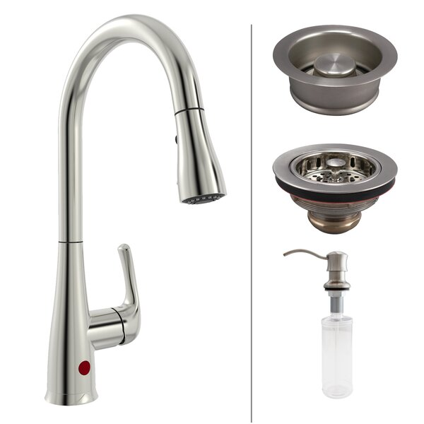 Premium Single Handle Touchless Kitchen Faucet with Strainer and Soap Dispenser by Keeney Manufacturing Company