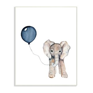 'Baby Elephant with Blue Balloon' Graphic Art Print by Harriet Bee