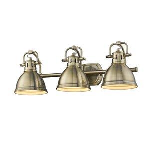 Bathroom Vanity Lights Antique Brass brass bathroom vanity lighting you'll love | wayfair