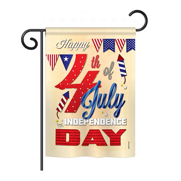 Happy 4th 2-Sided Vertical Flag by Breeze Decor