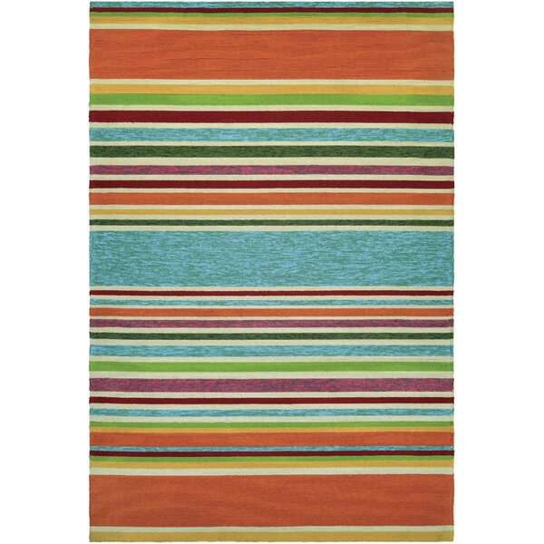 Locklin Hand-Woven Azure/Orange Indoor/Outdoor Area Rug by Beachcrest Home