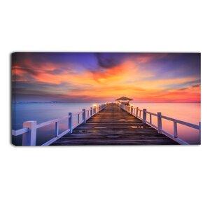 Wooden Bridge Landscape Photographic Print on Wrapped Canvas by Design Art