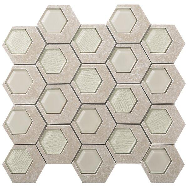 Catalyst 3 x 3 Stone/Glass Mosaic Tile in Jasper by Emser Tile