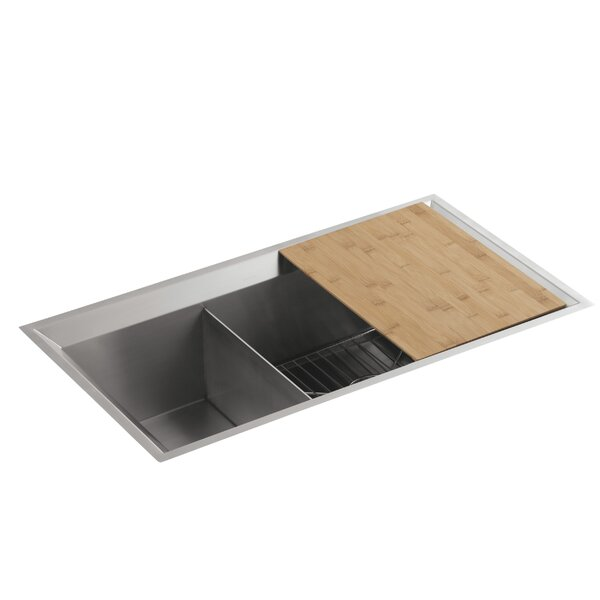 Poise 33 L x 18 W x 9-1/2 Under-Mount Large/Medium Double-Bowl Kitchen Sink, Includes Cutting Board and Bottom Bowl Rack by Kohler