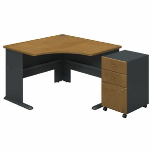 Series A L-Shape Executive Desk with 3 Drawer Mobile Pedestal