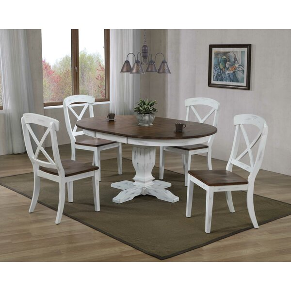Devante Transitional 5-Piece Extendable Solid Wood Dining Set by Ophelia & Co.
