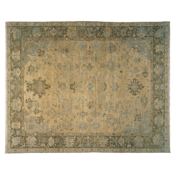 Herat Oriental Hand-Knotted Wool Green Area Rug
