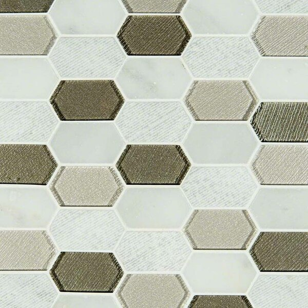 Inessa Blanco Picket Pattern Glass/Stone Mosaic Tile in Gray/White by MSI
