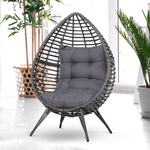 Wicker Patio Chair with Cushions by Outsunny