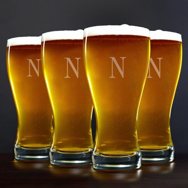 Personalized 20 oz. Pilsner Glass (Set of 4) by Home Wet Bar