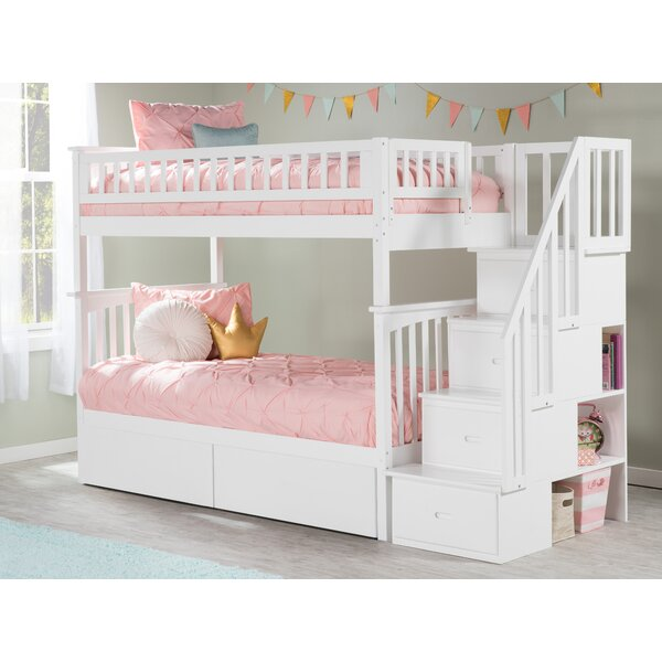 Abel Staircase Twin Over Twin Bed with Drawers by Harriet Bee