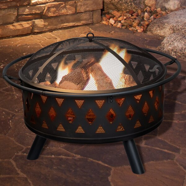 Crossweave Steel Wood Burning Fire Pit By Pure Garden.