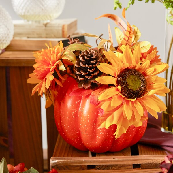 Autumn Harvest Artificial Pumpkin with Sunflowers Mums and Pine Cones Decoration by Northlight Seasonal