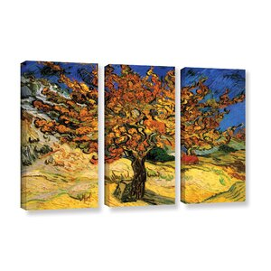 'Mulberry Tree' by Vincent Van Gogh 3 Piece Painting Print on Wrapped Canvas Set by Alcott Hill