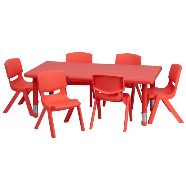 7 Piece Rectangular Activity Table & 10.5 Chair Se