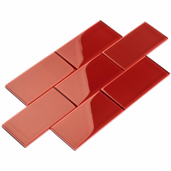 3 x 6 Glass Subway Tile in Ruby Red by Giorbello