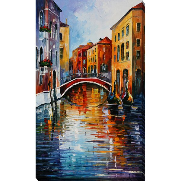 Canal in Venice by Leonid Afremov Painting Print on Wrapped Canvas by Picture Perfect International