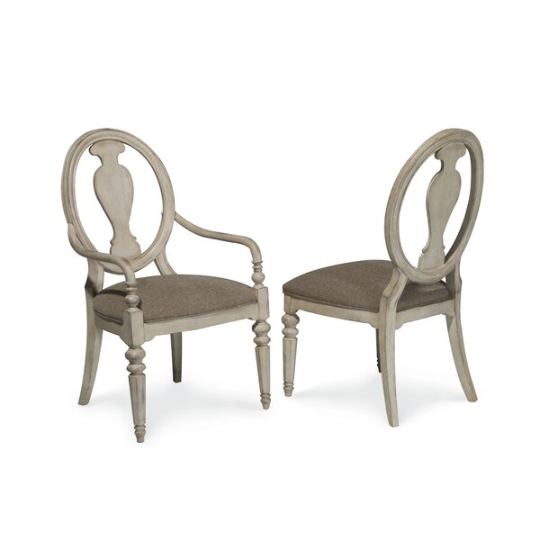 Osullivan Upholstered Queen Anne Back Arm Chair in Off-White (Set of 2) by One Allium Way One Allium Way