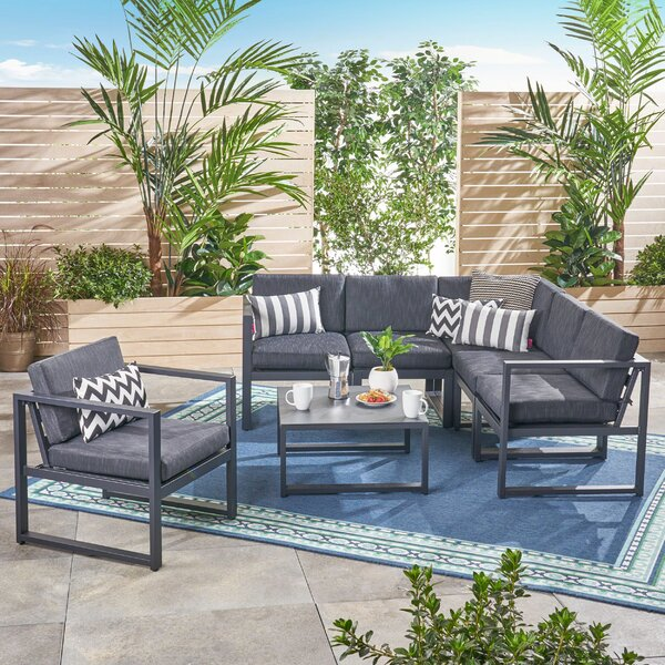 Dilbeck 7 Piece Sectional Seating Group with Cushions by Latitude Run