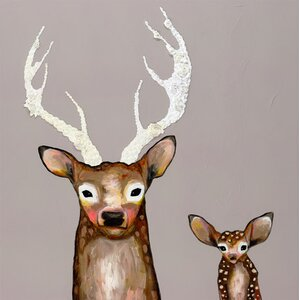 'Frosted Buck and Baby' by Eli Halpin Painting Print on Wrapped Canvas by GreenBox Art
