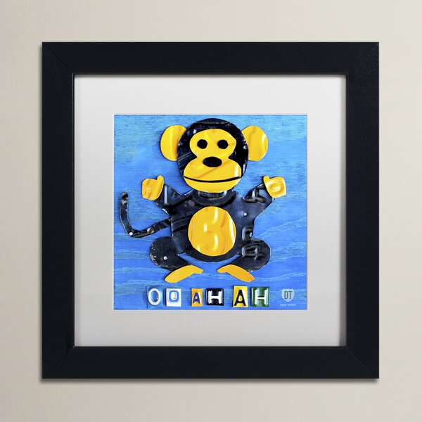 Odessa Oo Ah Ah the Monkey by Design Turnpike Framed Art in Blue/Yellow by Zoomie Kids