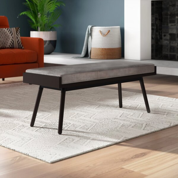 Hilburn Faux Leather Bench by Mercury Row
