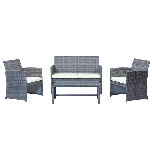 4 Piece Rattan Sofa Seating Group by Design Tree Home