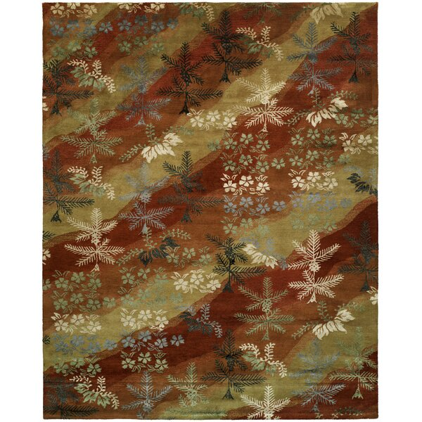Dhuri Hand-Tufted Scarlet/Sand Area Rug by Meridian Rugmakers