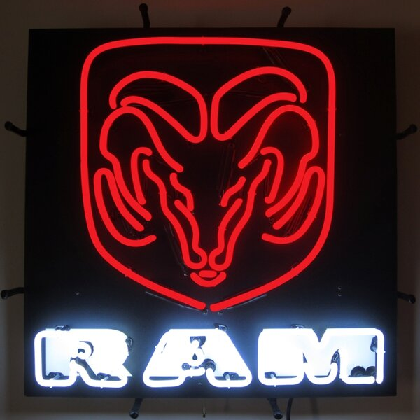 Ram Neon Sign with Backing by Neonetics