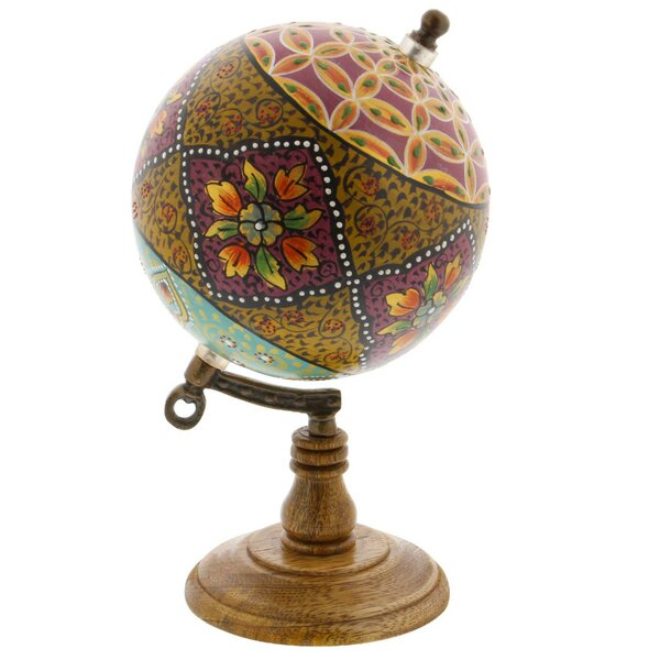 Hand-crafted Floral Marble Globe by Bloomsbury Market
