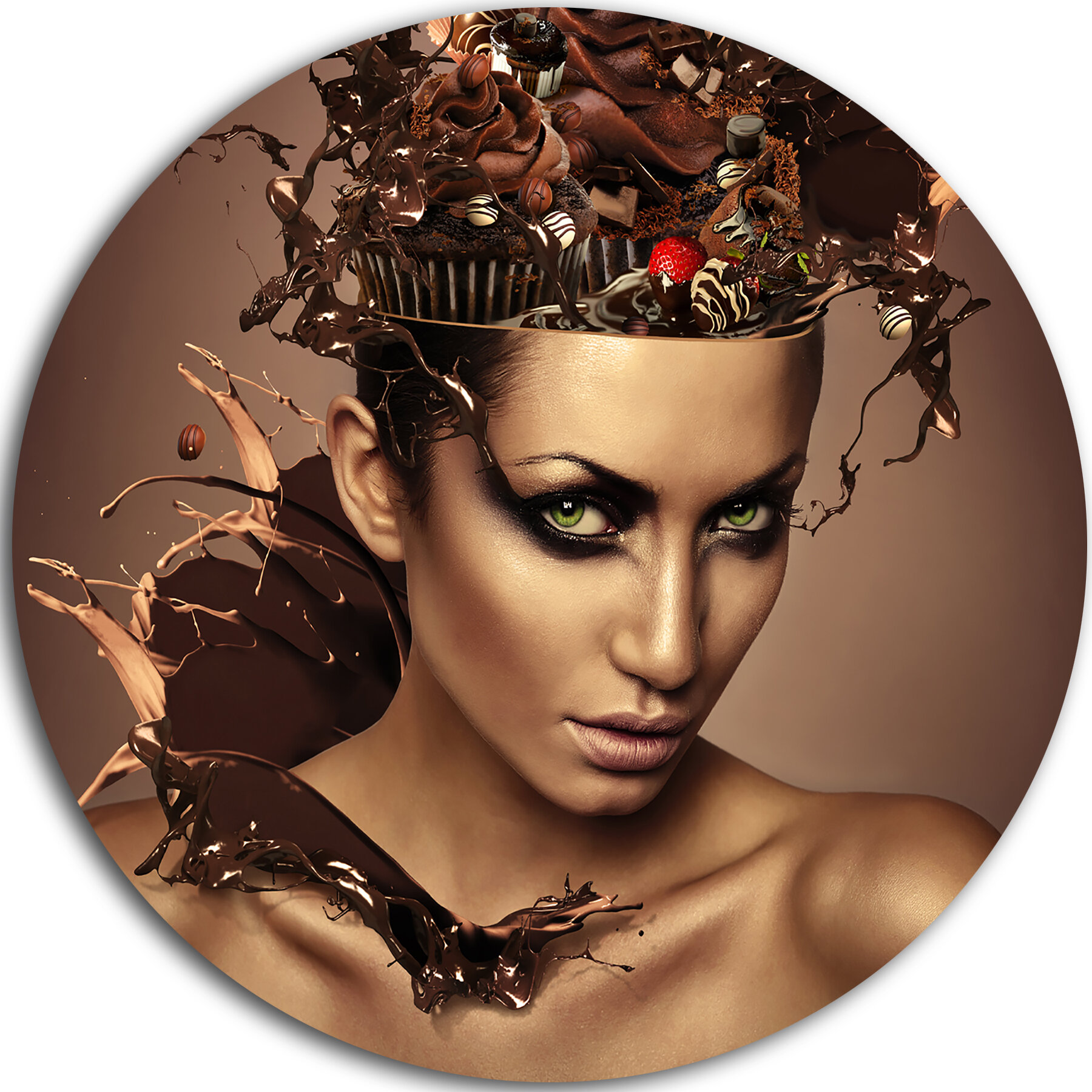 Designart /'Woman with Chocolate in Head/' Portrait Metal Wall  Small