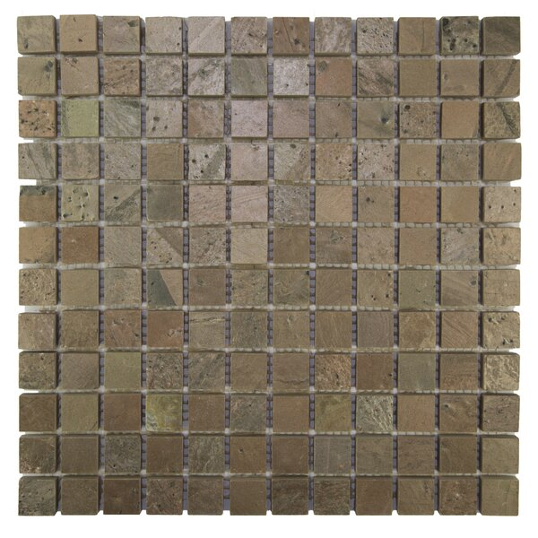 Squares 1 x 1 Natural Stone Mosaic Tile in Cooper by Pebble Tile