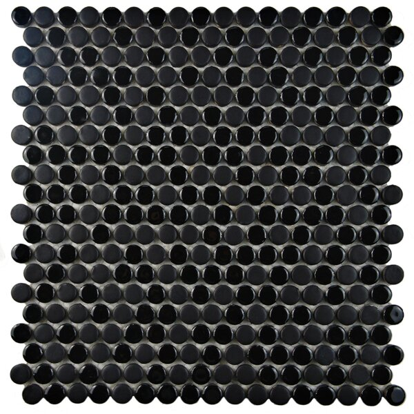 Astraea 0.62 x 0.62 Porcelain Mosaic Tile in Black by EliteTile