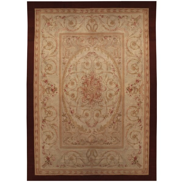 One-of-a-Kind Hand-Knotted Before 1900 Red/Beige 13' x 19' Wool Area Rug