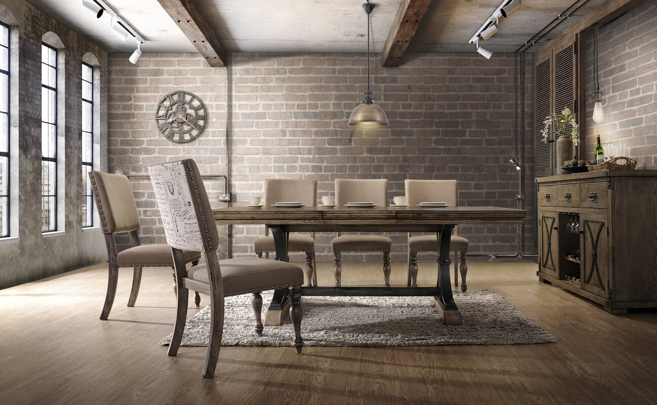 Dasher 7 Piece Removable Leaf Table With Nail Head Chair Dining Set Driftwood