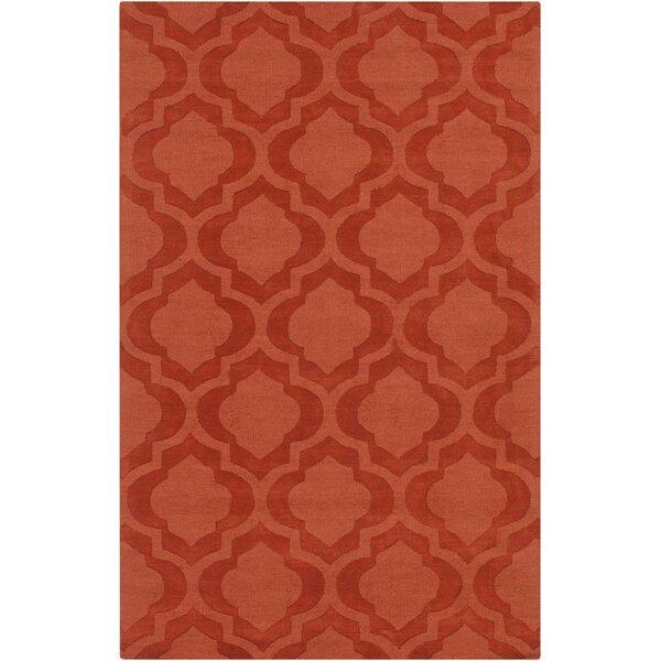 Castro Hand Woven Wool Orange Area Rug by Wrought Studio