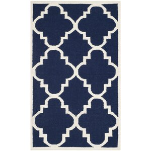 Dhurries Hand-Woven Wool Navy/Ivory Area Rug