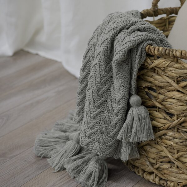 Adelia Knitted Tassel Throw by Eider & Ivory