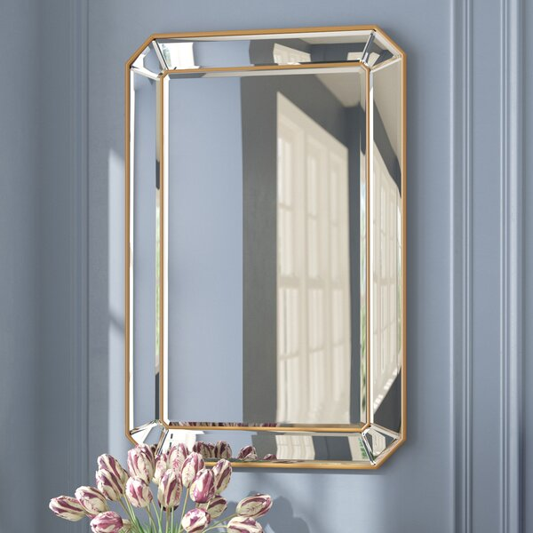Briley Rectangle Gold Angled Accent Wall Mirror by Willa Arlo Interiors