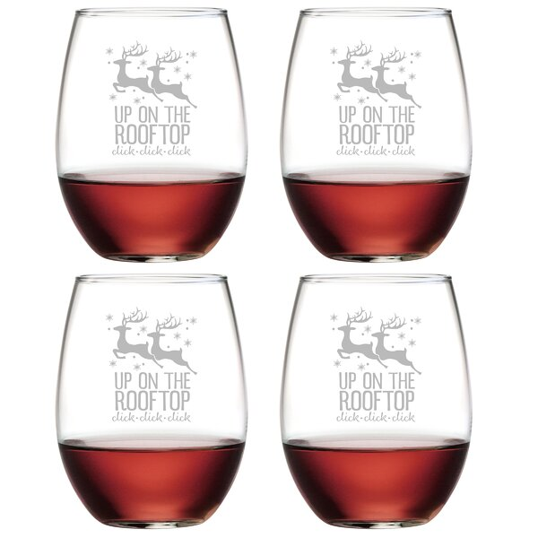 Up On the Rooftop Glass 21 oz. All Purpose Stemless Wine Glass (Set of 4) by The Holiday Aisle