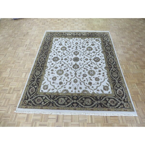 One-of-a-Kind Rhyne Hand-Knotted Wool Ivory/Brown Area Rug by Astoria Grand