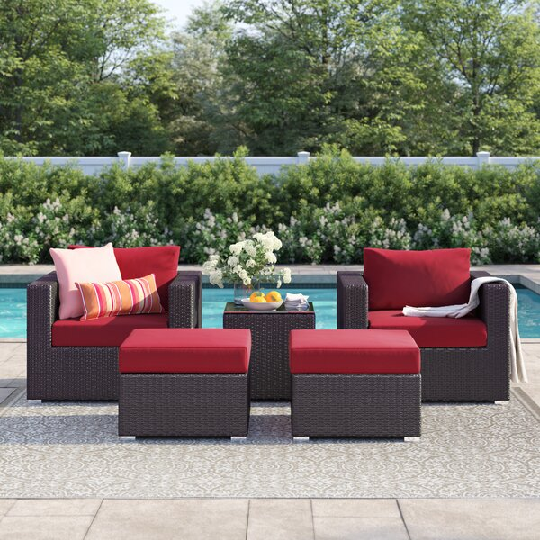 Brentwood 5 Piece Rattan Seating Group with Cushions by Sol 72 Outdoor Sol 72 Outdoor