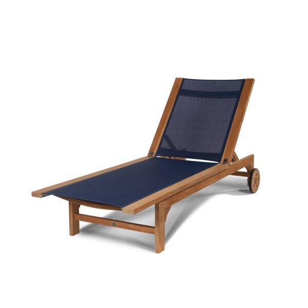 Miranda Sun-lounger Reclining Teak Chaise Lounge by Longshore Tides Longshore Tides