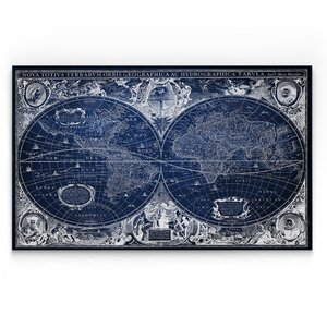 'Blue Treasure Map' Graphic Art Print on Wrapped Canvas by Wexford Home