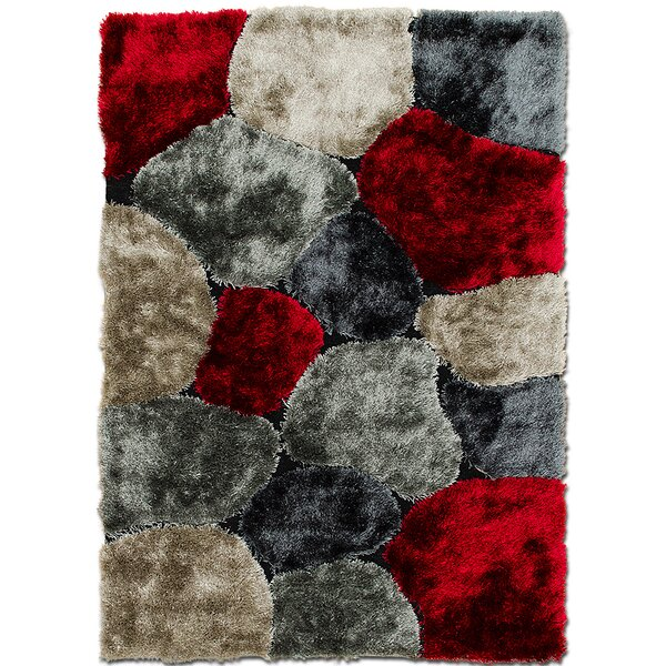 Hand-Tufted Red/Gray Area Rug by AllStar Rugs