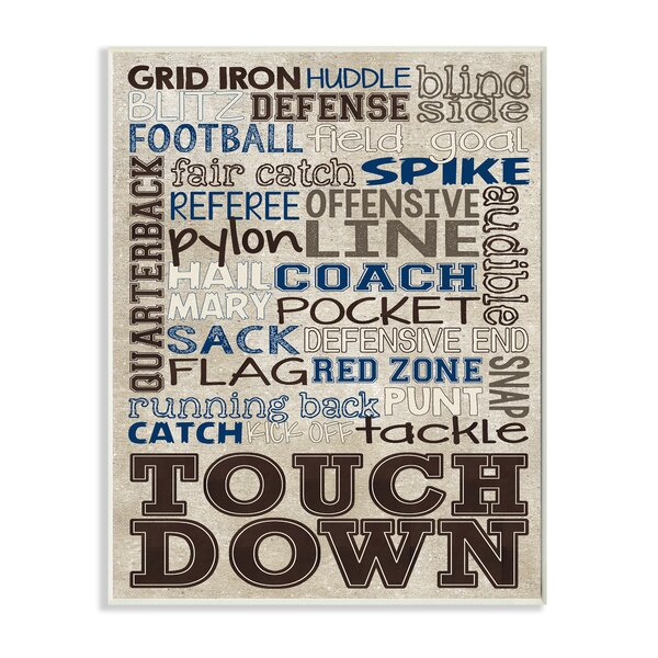 Kleckner Brown and Navy Football Typography Wall Plaque by Zoomie Kids