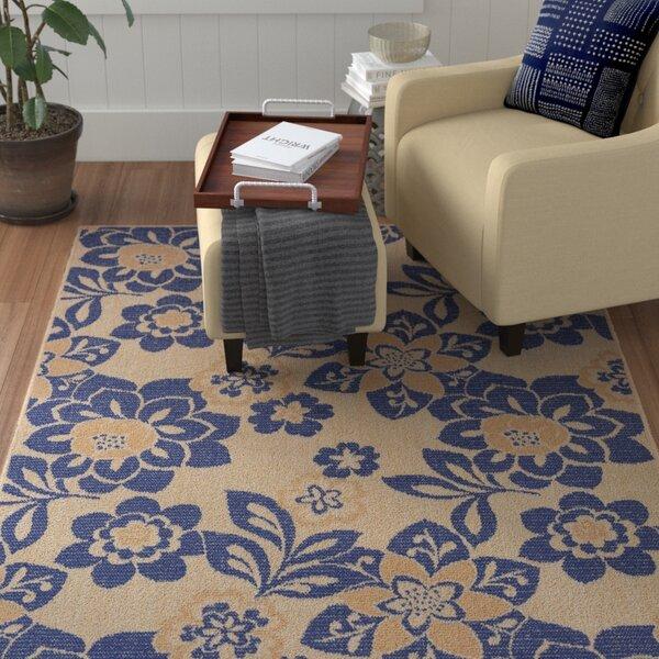 Coleg Garden Power Loom Blue/Beige Indoor/Outdoor Area Rug by Winston Porter