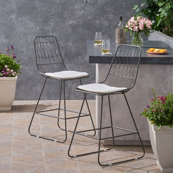 Nico Modern Geometric 26.25-inch Patio Bar Stool (Set Of 2) By Wrought Studio