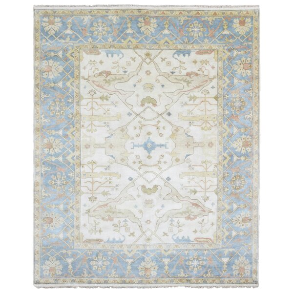 One-of-a-Kind Mitchel Oriental Hand Woven Wool Beige/Blue Area Rug by Darby Home Co