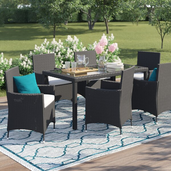 Bridgette Outdoor Complete 7 Piece Dining Set with Cushions